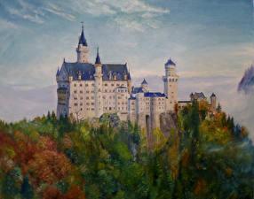 Фотография Германия Нойшванштайн Замки Рисованные Бавария Города