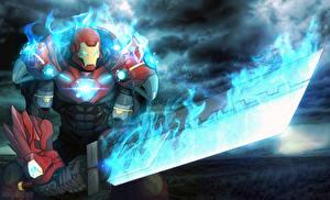 Обои Воители Железный человек герой Мечи