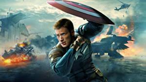 Картинка Капитан Америка герой Герои комиксов Мужчины Chris Evans Первый мститель: Другая война Щит Steve Rogers кино