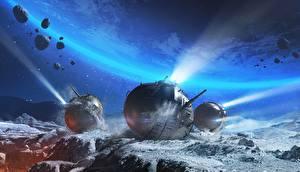 Обои World of Tanks Танки Поверхность планеты Spherical Tank IS-360 Игры Космос Фэнтези фото