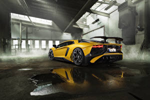Картинка Lamborghini Желтый Сзади автомобиль
