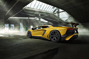 Фотографии Lamborghini Желтая Aventador LP 750-4 SV Novitec Torado Автомобили