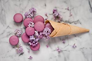 Картинки Печенье Сирень Макарон Еда