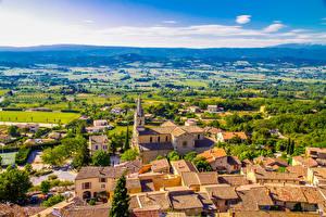 Картинки Франция Дома Поля Сверху Bonnieux город