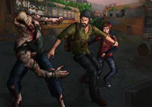 Картинка The Last of Us Мужчины Зомби Ellie, Joel Игры
