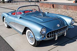 Фото Chevrolet Ретро Голубых Кабриолет 1956 Corvette машина