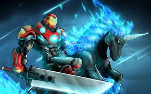 Фото Воины Единороги Железный человек герой Мечи Фэнтези