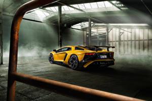 Картинка Lamborghini Вид сзади Желтая Aventador LP 750-4 SV Novitec Torado машина