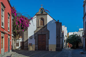 Фотографии Испания Дома Бугенвиллия Канары Улица Las Palmas Gran Canaria Города