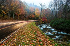 Обои США Осень Дороги Парки Great Smoky Mountains Природа фото