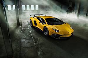 Фото Lamborghini Желтая Novitec Torado Aventador LP 750-4 Автомобили