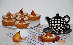 Обои Выпечка Капкейк кекс Чайник Груши Еда фото