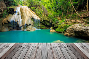 Обои Таиланд Тропики Парки Водопады Мох Природа фото