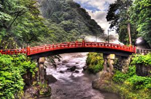 Картинки Токио Япония Речка Мосты Природа
