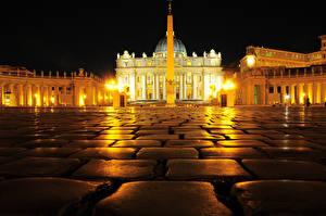 Обои Камни Рим Италия Ночь Тротуар Городская площадь St. Peter's Square Города фото
