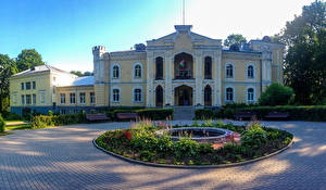 Фотография Беларусь Дворец Газоне Кустов Скамейка Priluki Palace город
