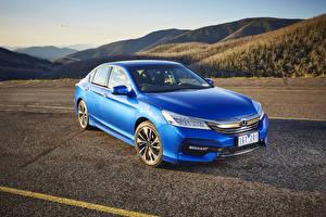 Картинки Honda Синие Седан 2016 Accord V6 Sedan Автомобили