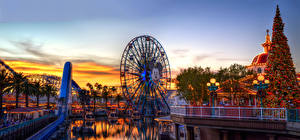 Обои Вечер США Парки Колесо обозрения Калифорния Города фото