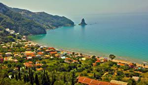 Обои Греция Побережье Дома Agios Gordios Corfu Города фото