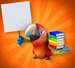 Фото Птицы Попугаи Книги Клюв 3D Графика Животные