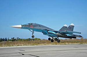 Картинка Самолеты Истребители Взлет Су-34 Автомобили