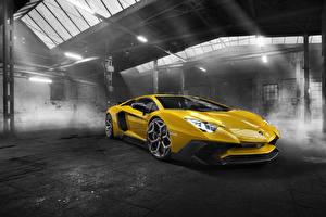 Картинки Lamborghini Желтый Novitec Torado Aventador LP 750-4 Автомобили
