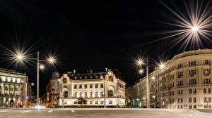 Фотография Австрия Дома Вена Улица Ночные Уличные фонари Города