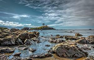 Обои Побережье Океан Камни Небо США Калифорния Природа фото