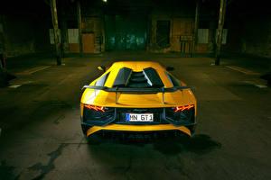 Обои Lamborghini Желтая Вид сзади Aventador LP 750-4 SV Novitec Torado Автомобили