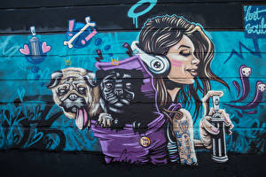 Обои Граффити Собаки Стенка Lost Souls молодая женщина