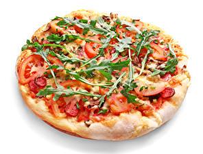 Фото Фастфуд Пицца Овощи Белый фон Пища