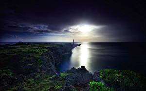 Обои Япония Побережье Ночь Мох Okinawa Природа фото