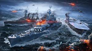 Картинка World Of Warship Корабли Авианосец Игры Армия