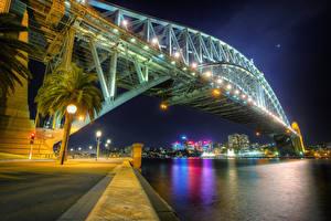 Обои Мосты Побережье Австралия Ночь HDR Сидней Города фото