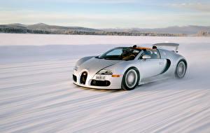 Обои BUGATTI Белый Снег Дорогие Скорость Родстер 2008–12 Veyron Grand Sport Roadster Авто