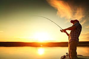 Фотография Рассветы и закаты Небо Мужчины Рыбалка Удочка Природа