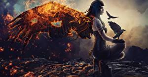 Фотография Ангел Вороны Огонь Готические Крылья Фэнтези Девушки