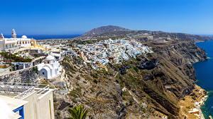 Обои Греция Дома Побережье Santorini Города фото