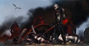 Обои The Witcher 3: Wild Hunt Воители Мужчины Геральт из Ривии Игры Фэнтези фото