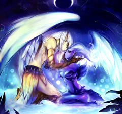 Картинка DOTA 2 Ангел Любовь Vengeful Spirit Skywrath Mage Двое Крылья компьютерная игра Фэнтези