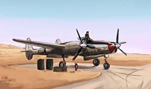Картинка Самолеты Рисованные P38 lightning
