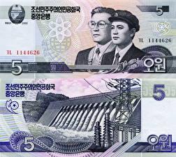 Обои Деньги Купюры 5 won North Korea (DPRK) фото