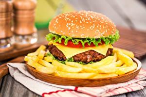 Фотографии Быстрое питание Гамбург Картофель фри Булочки Пища