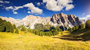 Картинки Гора Пейзаж Дерево Облако Трава Природа