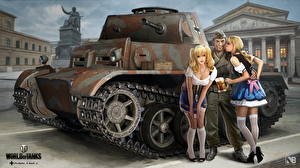Обои World of Tanks Танки Nikita Bolyakov Официантка Pz.Kpfw.II Aust.J компьютерная игра Девушки