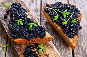 Фотография Бутерброд Икра Хлеб Черных Пища