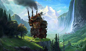Фотография Техника Фэнтези Водопады Горы Фантастический мир Фантастика