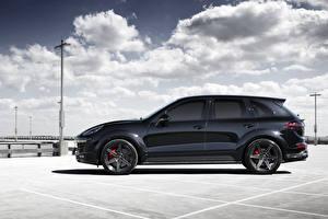 Фотографии Porsche Черный Сбоку Облака 2015 TopCar Cayenne Машины