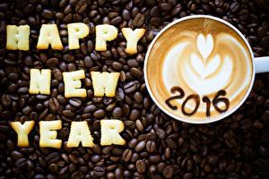Обои Кофе Новый год Капучино Зерна Чашка 2016 Еда фото