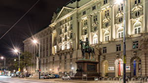 Фотографии Австрия Дома Памятники Вена Ночь Уличные фонари Улица